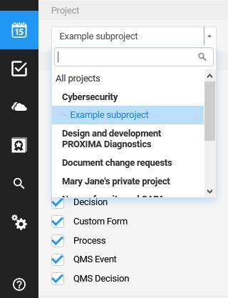 calendar choose project