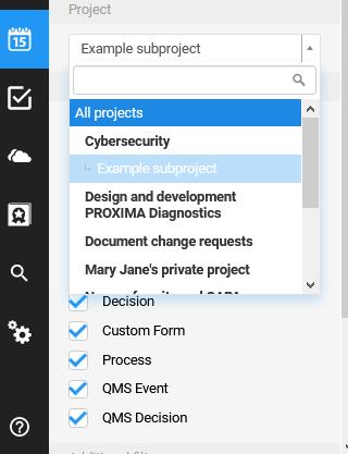 calendar choose project All
