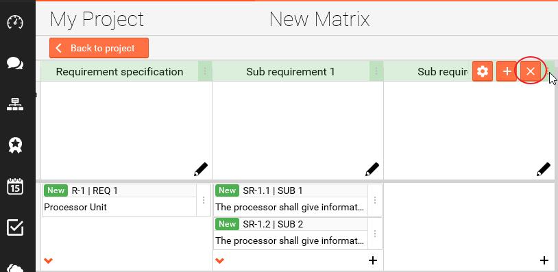Delete sub requirement column