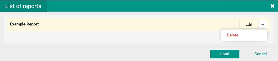 List of reports window